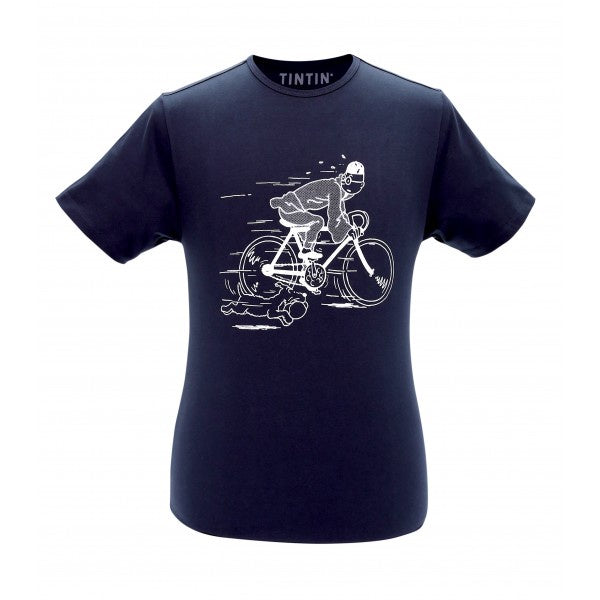 T-SHIRT ADULTS - TINTIN ON HIS BIKE