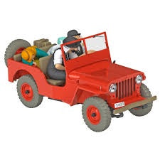 TINTIN CARS 1/24 - RED JEEP WILLYS