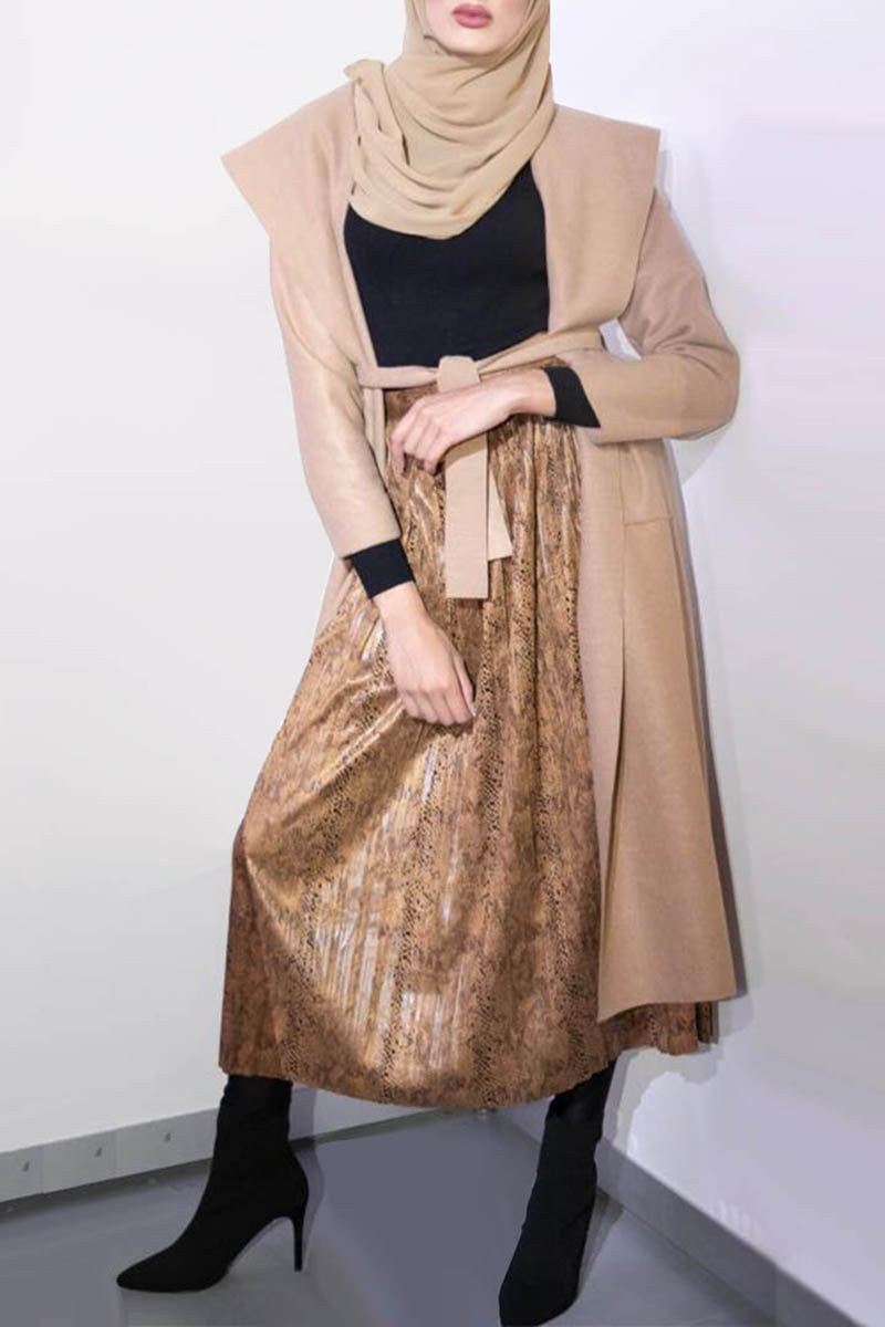 Hooded Wrap Coat Camel