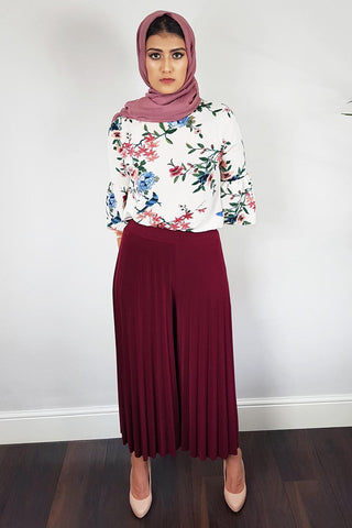 Majestic Maroon Pleated Palazzo Trousers