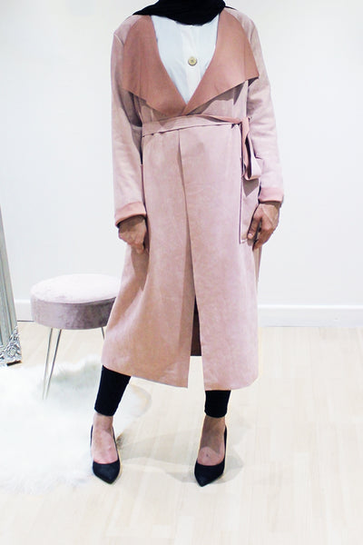 Suede Duster Coat Pink