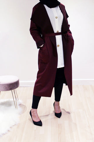 Suede Duster Coat Wine