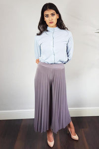 Grey Pleated Palazzo Trousers