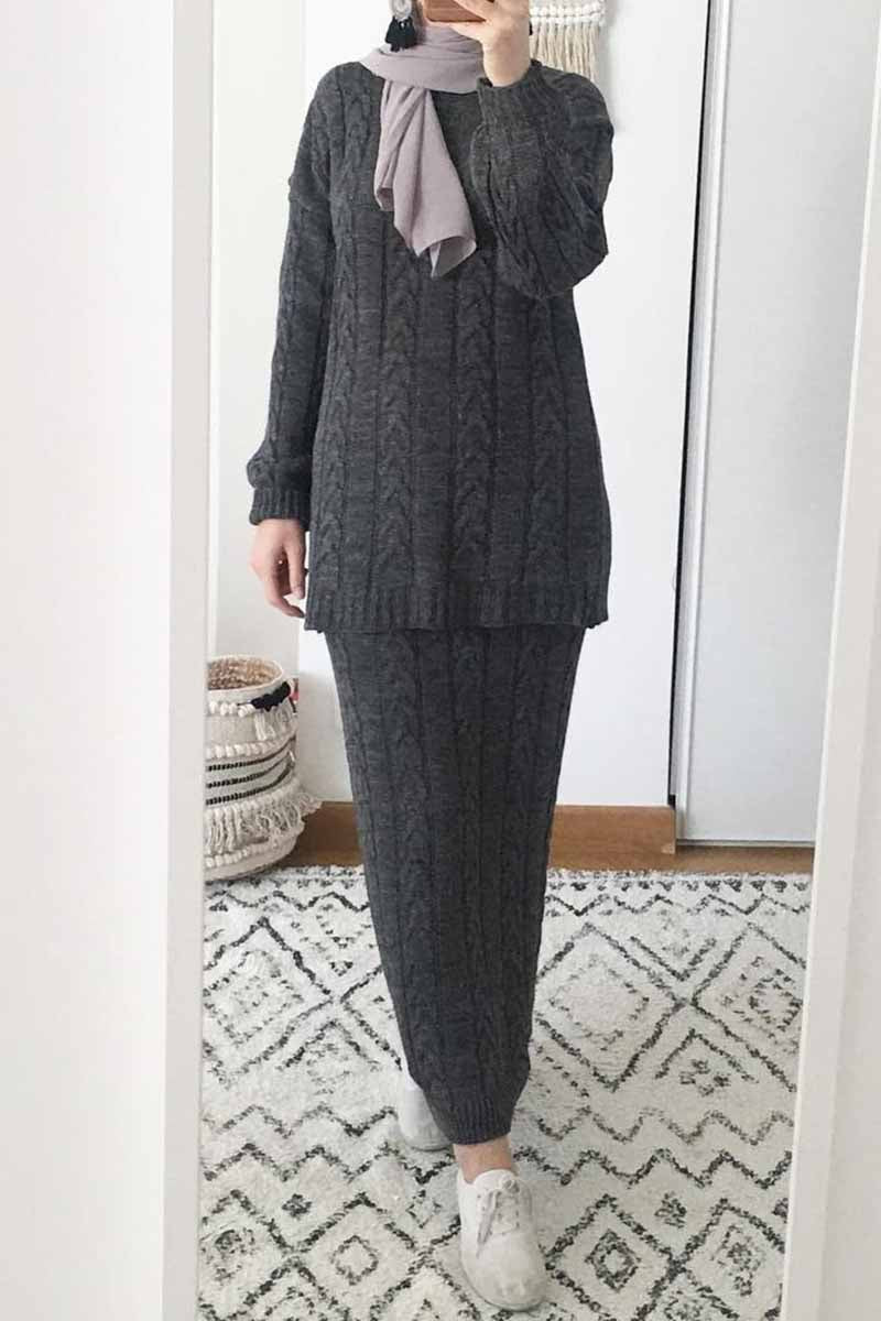 Knit Co-ord Set Stone