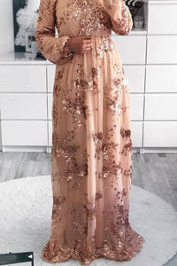 Marina Sequins Gown Gold