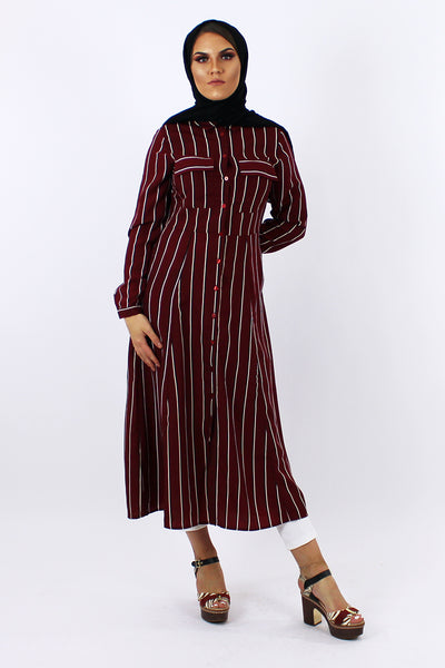 Stripey Slim Shirt Dress