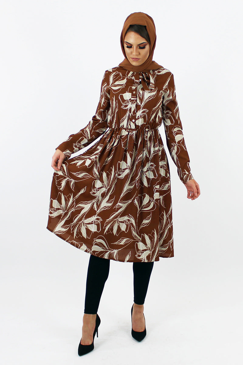 Brown Printed Smock Dress