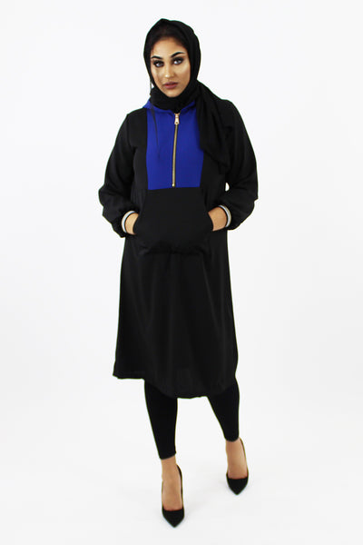 Sporty Long Hooded Top
