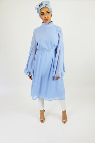 Daphne Frilled Bell Sleeve Dress Blue