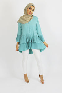 Zoey Pleated Frill Tier Top Mint