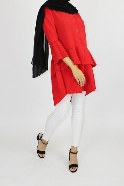 Zoey Pleated Frill Tier Top Red