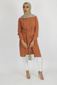 Lara Front Tie Dress Top Tan