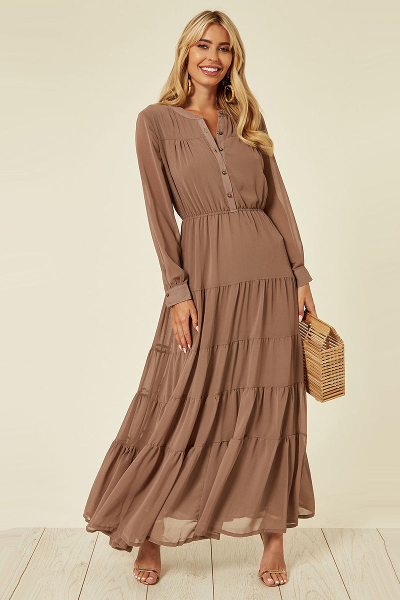 Lucy Layered Maxi Dress Brown