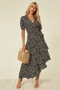 Sweetheart Print Ruffled Wrap Dress