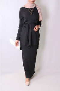 Adele Rib Knit Co-ord Set Black