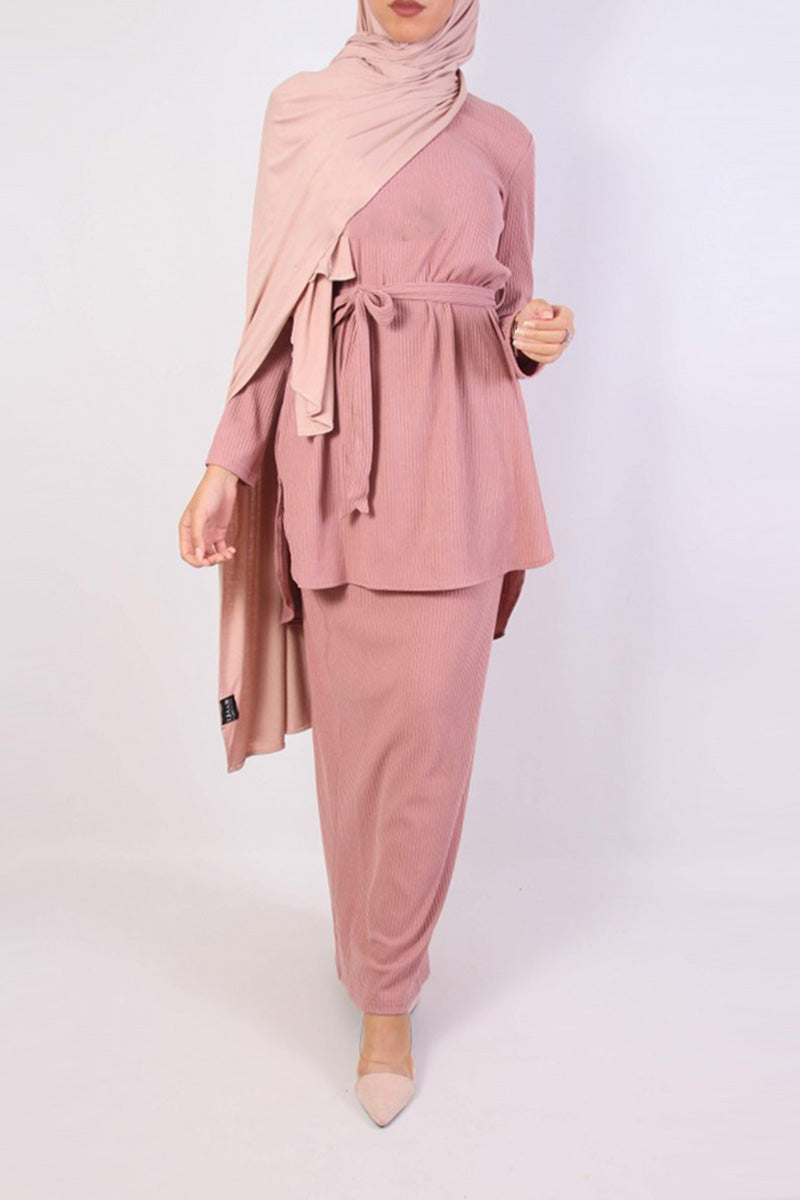 Adele Rib Knit Co-ord Set Pink