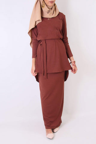 Adele Rib Knit Co-ord Set Brick-Brown