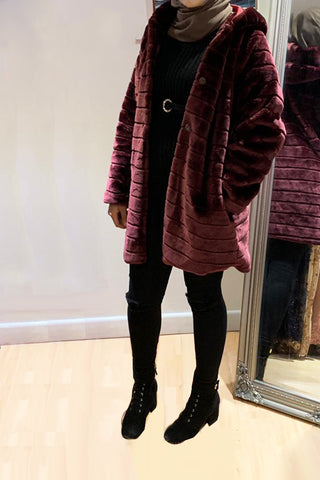 Mulberry Velvet Fur Coat Wine
