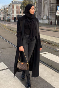 Mabel Long Wrap Coat Black