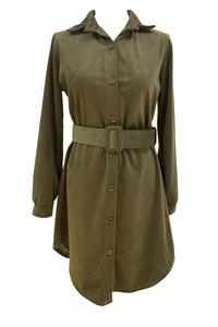 Tia Cord Button Up Shirt Dress Khaki