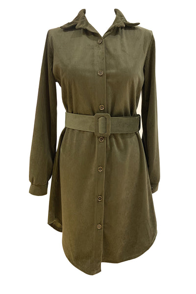 Tia Cord Button Up Shirt Dress Tan