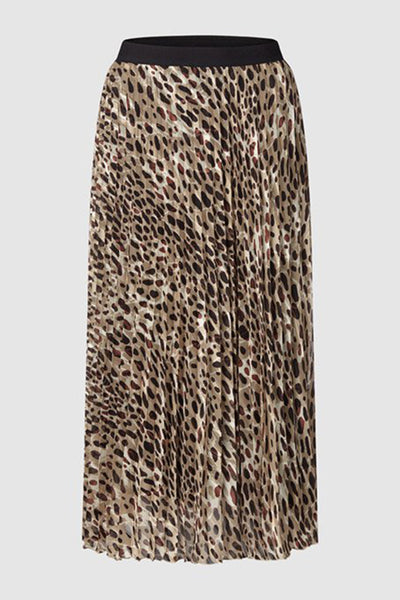 Montanna Leopard Print Pleated Skirt Brown