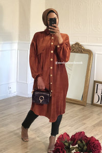 Amalia Luxe Shirt Dress Brown