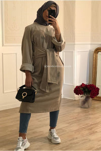 Eveline Front Tie Wool Dress Taupe