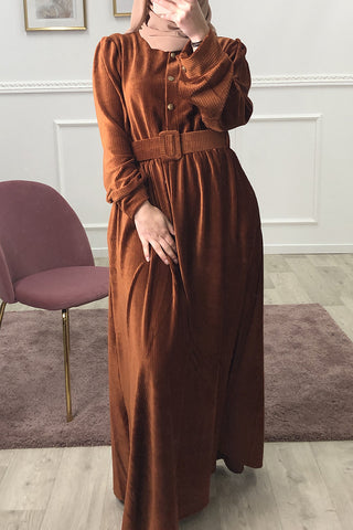 Maribel Luxury Velour Maxi Dress Brown