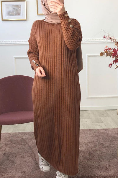 Chivonne Maxi Ribbed Knit Jumper Dress Brown
