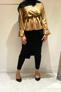 Poppy Peplum Satin Blouse Gold