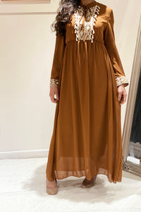 Emery Embellished Party Maxi Dress Tan