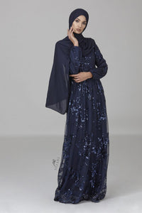Marina Sequins Gown Navy