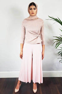 Pastel Pink Pleated Palazzo Trousers