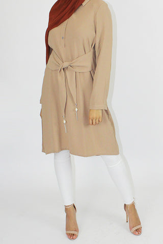 Lara Front Tie Dress Top Beige