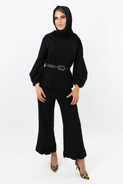 Sasha Top & Trouser Co-ord Set BLACK