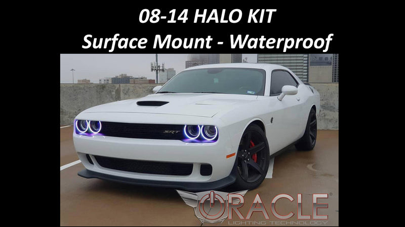 2008-2014 Dodge Challenger LED Headlight Halo Kit- Surface Mount- Waterproof
