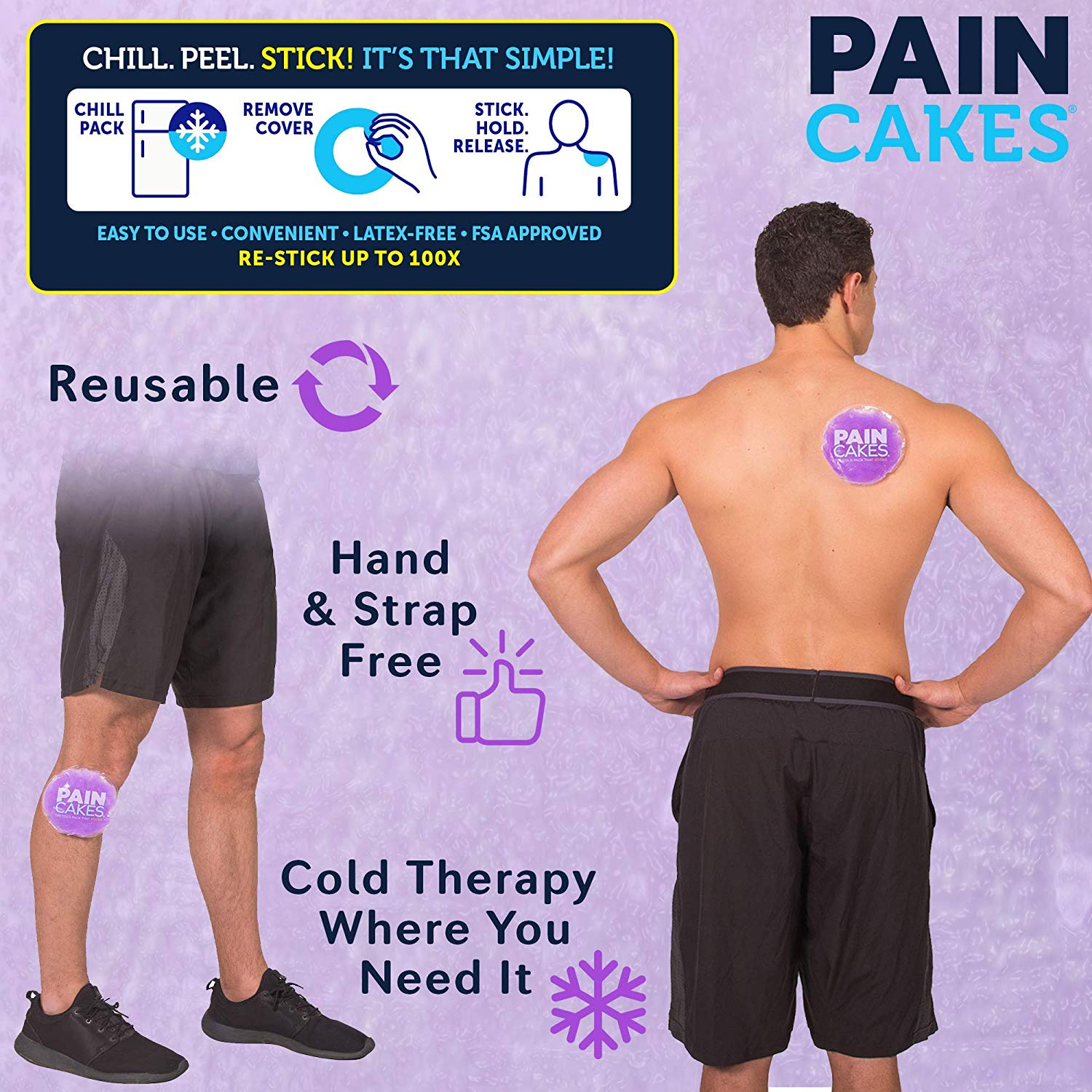 PAINCAKES The Cold Pack That Sticks & Stays in Place - Reusable Cold Therapy Ice Pack Conforms to Body