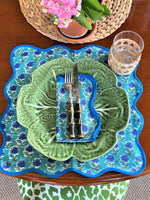 LCA Scallop Placemats/Napkins - 'Aqua Blue small print' (set 4)