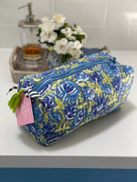 LCA Cosmetic/Toiletry Bag - Lime & Blue - LARGE