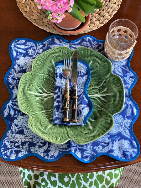 LCA Scallop Placemats/Napkins - 'Portofino Blue' (set 4)
