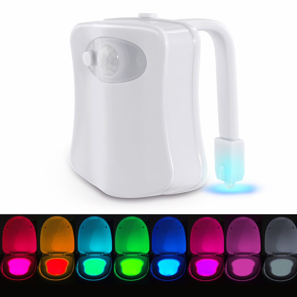 Roseny Toilet Night Light Motion Activated 8 Color Changing Led Toilet Seat Light Motion Sensor Toilet Bowl Light UPC:9460389809617
