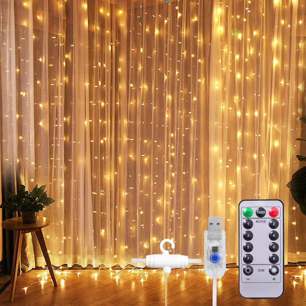 SUNNEST Window Curtain String Light 300 LED 8 Lighting Modes Fairy Lights Remote Control USB Powered Waterproof Lights for Christmas Bedroom Party Wedding Home Garden Wall Decorations,(Warm White)  ASIN:  B07ZGD6SQ9