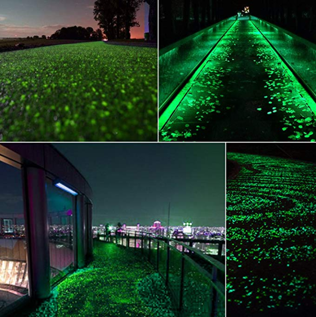 100 Pcs Glow in the Dark Garden Pebbles Walkwaysfor  and Decor in Green