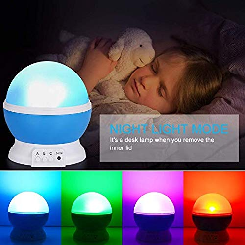 SUNNEST Kids Night Light, Moon Star Night Light Rotating Star Projector, Baby Night Light, Night Lighting Lamp 4 LED 8 Modes with USB Cable, Best for Bedroom Nursery Kids Baby Children Birthday Gift