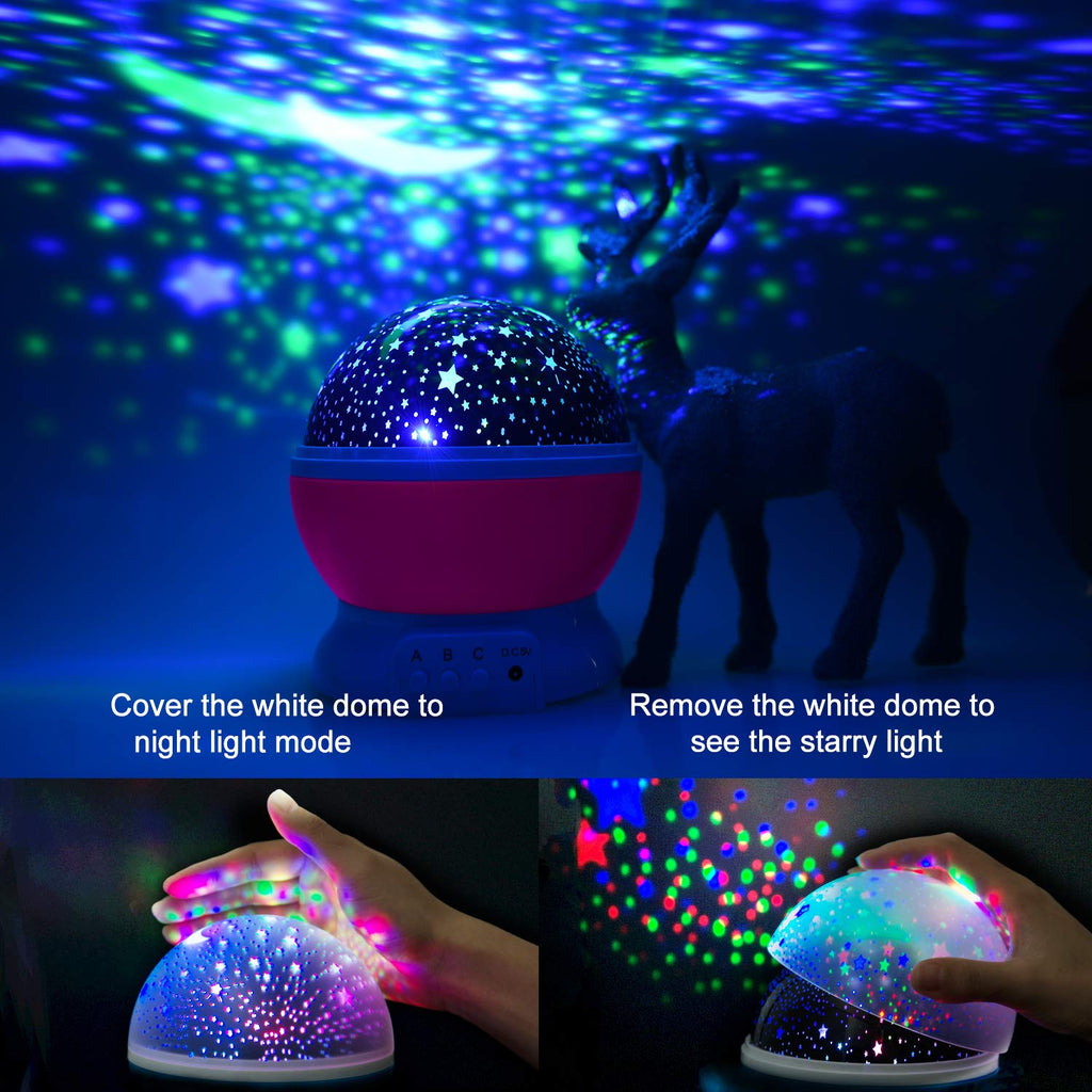 Star Night Light Projector, Baby Lights with 4 LED Bulbs 8 Light Color Changing with USB Cable 360 Degree Romantic Room Rotating Star Projector for Baby Kid Children Bedroom Decor UPC 9468992619531
