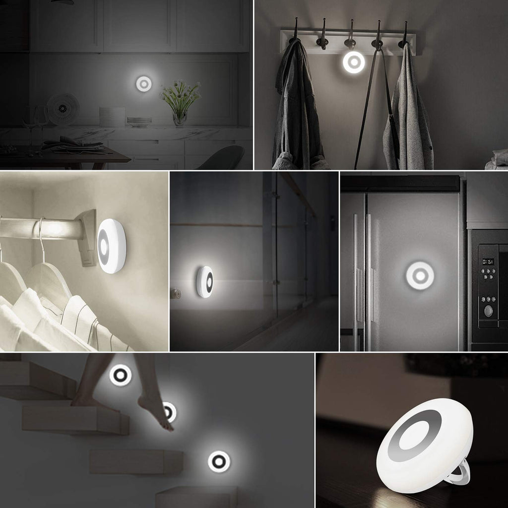 Sunnest Motion Sensor Light, Cordless Battery-Powered LED Night Light, Stick-Anywhere Closet Light Stair Lights, Puck Lights, Safe Lights for Decorative, Hallway (White - 2 Pack)