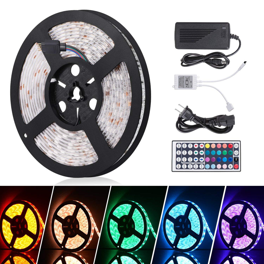 Sunnest Led Light Strip Waterproof 16.4ft SMD 5050 300leds, 12V DC Flexible Light Strips, LED Tape, RGB LED Strip Kit with 44key Remote Controller and Power Supply for Kitchen Bedroom and Sitting Room