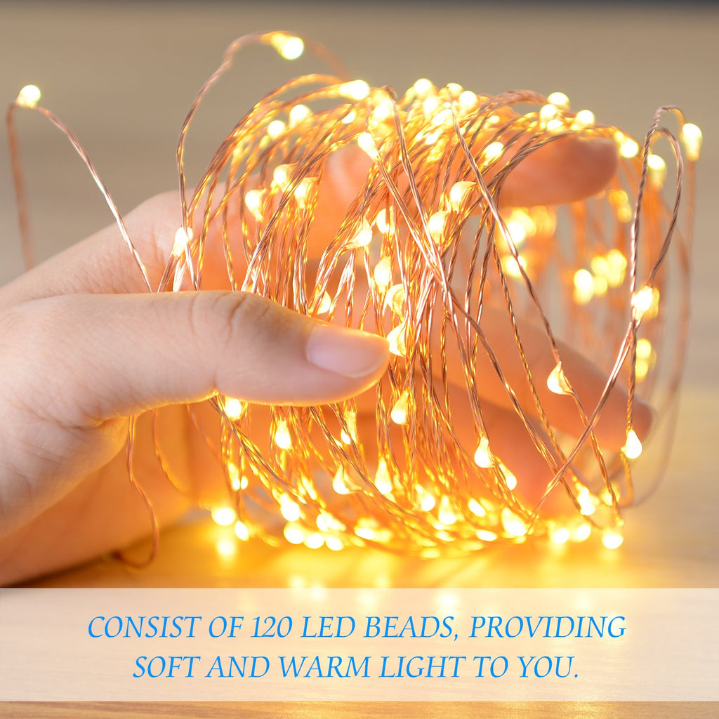 Boomile String Lights 39ft with 120LEDs, UL Listed, Waterproof Copper Wire String Lights with Power Adaptor, Christmas Decorative Lights for Bedroom, Patio, Parties (Warm White)