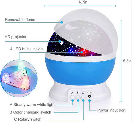 Baby Night Lights, Star Light Rotating Projector, 4 LED Bulbs 8 Modes for Children Kids Bedroom